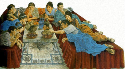 Obrazek ukazujący Rzymian w czasie posiłku