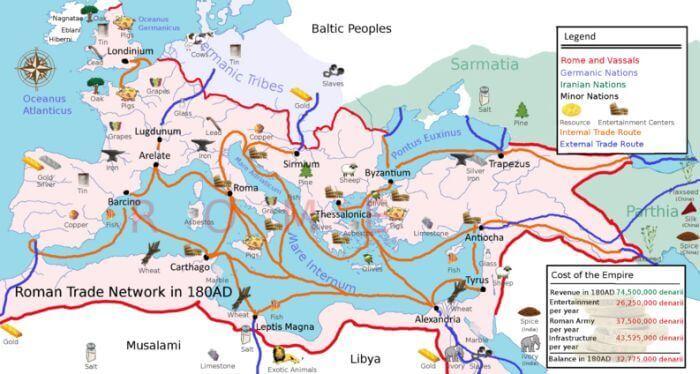 Mapa ukazująca główne powiązania handlowe Imperium Rzymskiego w 180 roku n.e.