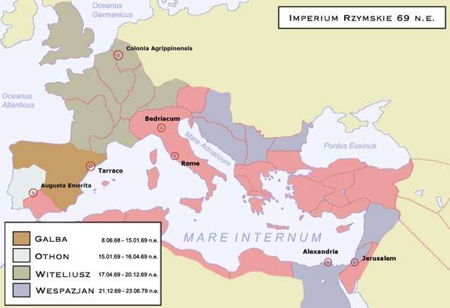 Map showing the Roman Empire in 69 CE