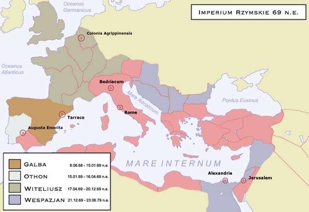Mapa ukazująca Imperium Rzymskie w roku 69 n.e.