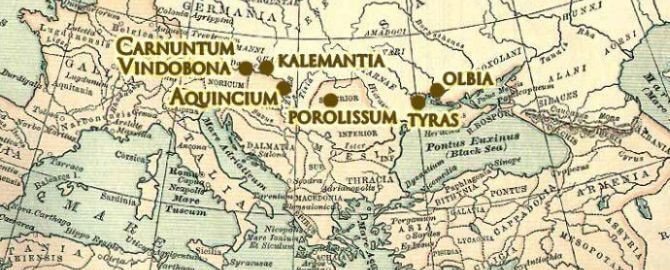 Roman cities closest to the Polish borders