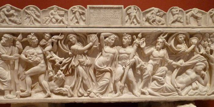 Bacchanalia shown on a Roman sarcophagus