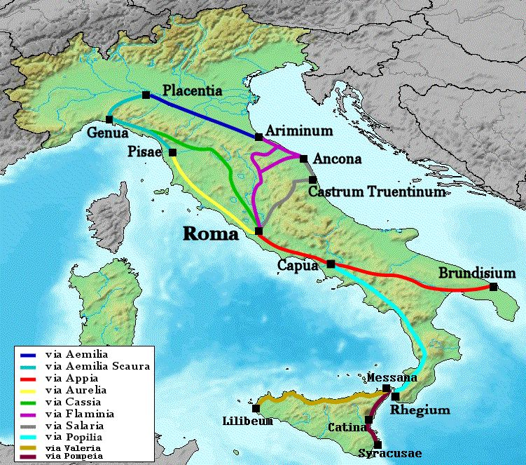 Roman road network in Italy