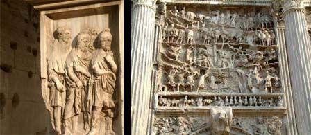 Płaskorzeźba na cokole i detal nad przelotem bramy łuku Septymiusza Sewera