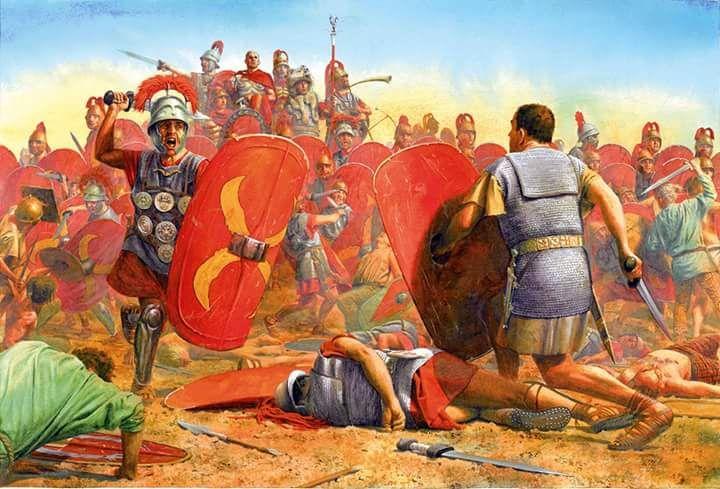 Spartakus przeprowadzający szarżę na Krassusa w trakcie bitwy nad rzeką Silarus