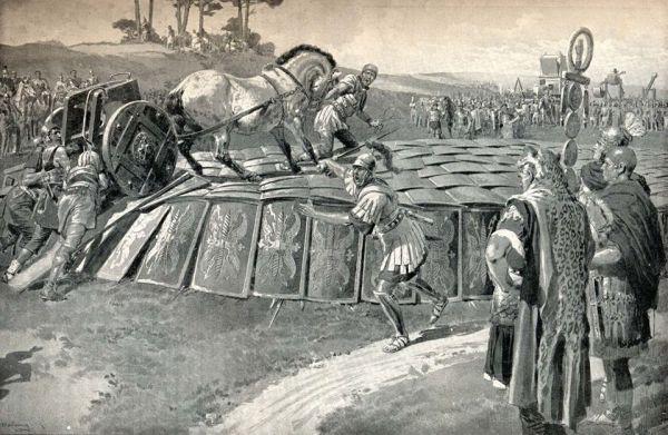 Wytrzymałość testudo była podobno tak wielka, że potrafiła utrzymać ciężar konia lub wozu