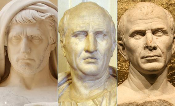 Rzymscy luminarze: Katon Młodszy, Cyceron i Juliusz Cezar
