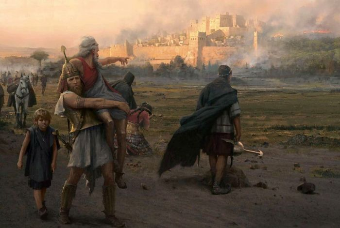 The escape of Aeneas with his father and son from Troy