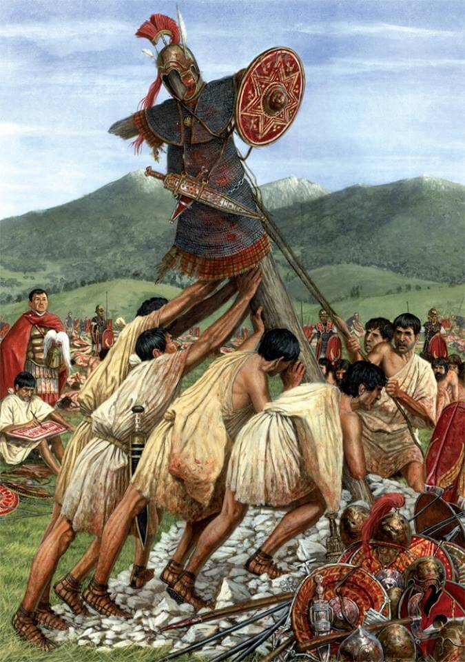 Augustus' soldiers build the tropaeum after a victorious battle with the Iberian Cantabras tribe around 25 BC