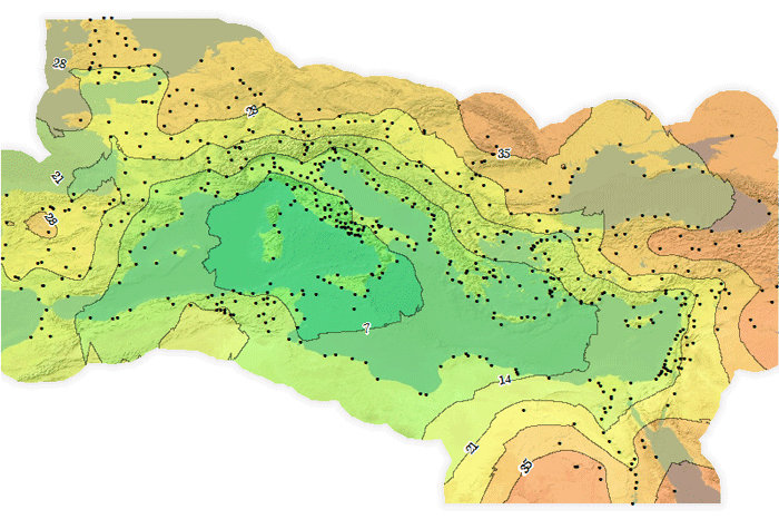 Map showing approximate travel time in Roman times