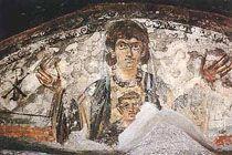 Matka Boska i dzieciątko na malowidle ściennym z wczesnych katakumb