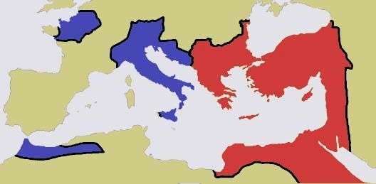 Western Roman and Eastern Roman Empire before 476 CE