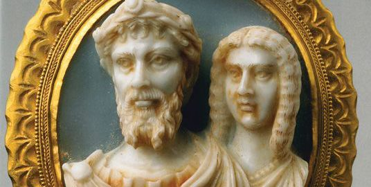 Unique cameo showing Septimius Severus and his wife