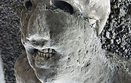 Amazing face of inhabitant of Pompeii