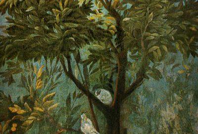 A beautiful Roman fresco showing the bosom of nature