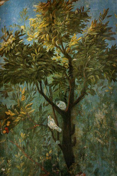Piękny rzymski fresk ukazujący łono natur