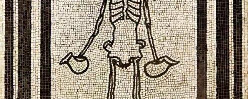 Interesting Roman mosaic showing skeleton