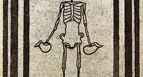 Ciekawa mozaika rzymska ukazująca szkielet