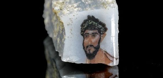Roman piece of glass with image of Roman