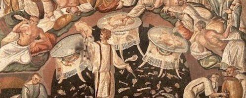 Fresk z Pompejów ukazujący rzymską ucztę