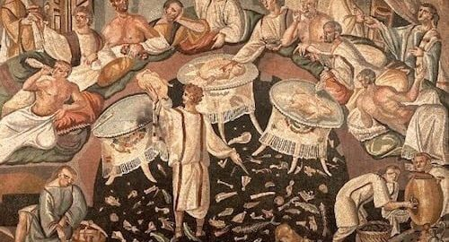 Fresco from Pompeii showing a Roman feast
