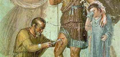 Fresk z Pompejów ukazujący rannego Eneasza, który ma opatrywane rany.