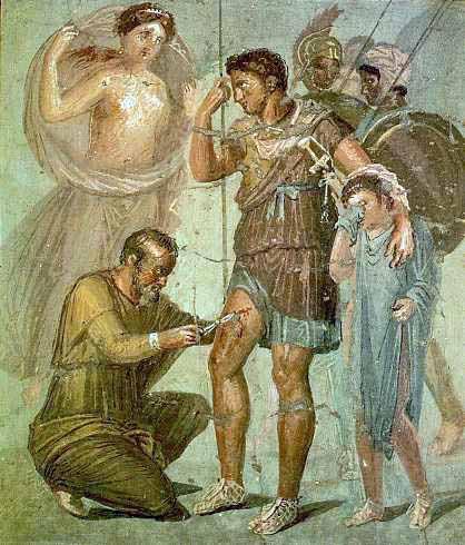 Fresk z Pompejów ukazujący rannego Eneasza, który ma opatrywane rany