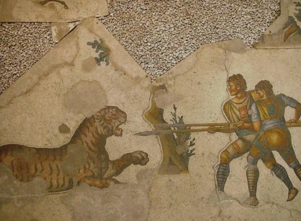 Malowidło rzymskie ukazujące walkę z drapieżnikiem