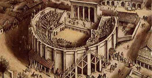 Wizualizacja rzymskiego teatru w Verulamium (obecne miasto St Albans, Anglia) z około roku 180 n.e., autorstwa Alana Sorrella