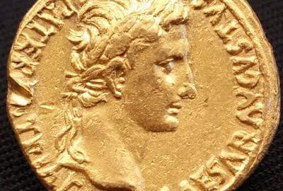 Moneta Oktawiana Augusta wydobyta pod Aleksandrią