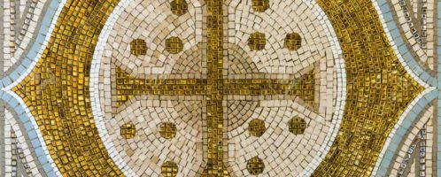 Golden cross on the mosaic