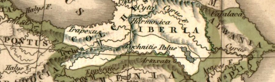 Colchis and Iberia in the 4th-3rd century BCE - shown on a map from 1833 by Félix Delamarche