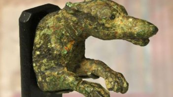Perfectly preserved Roman dog-shaped handle
