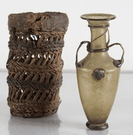 Roman glass amphora and basket