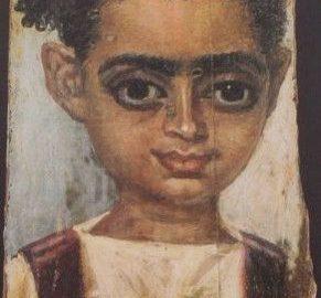 Realistyczny portret fajumski ukazujący małą dziewczynkę