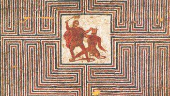 Fresco showing fight of Theseus with Minotaur
