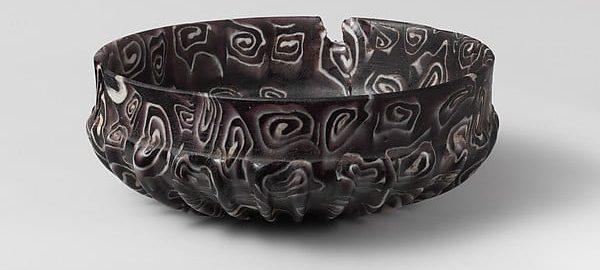 Cudowna prążkowana szklana miska z czasów rzymskich