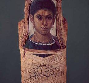 Portrait of young woman stuck to mummy