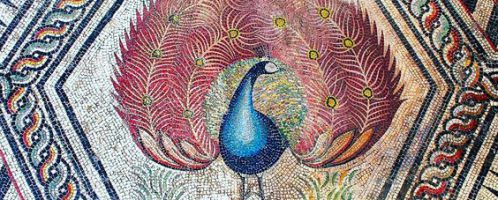 Roman mosaic showing colorful peacock