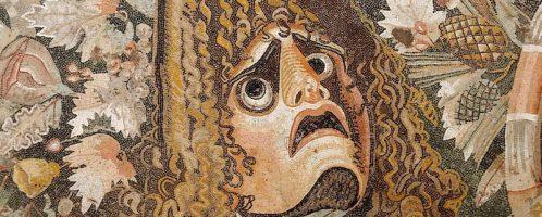 Maska teatralna na rzymskiej mozaice