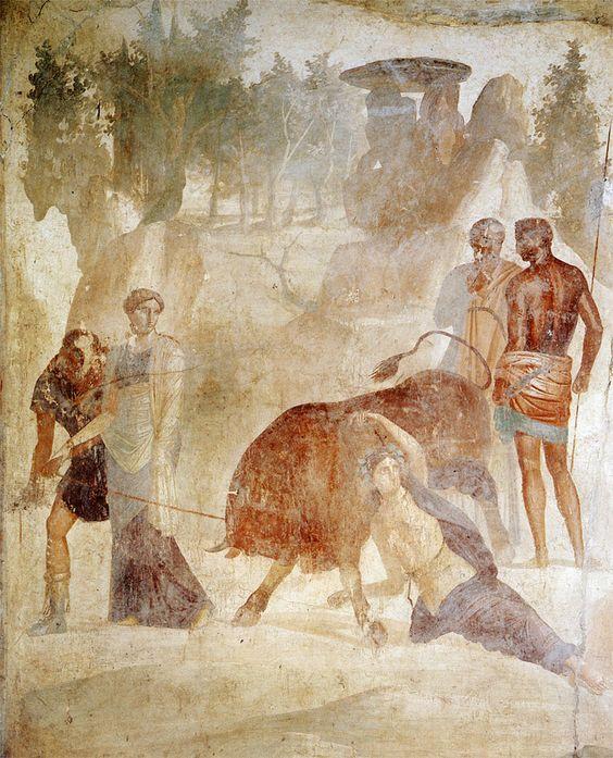 Rzymski fresk ukazujący scenę ukarania tebańskiej królowej Dirke
