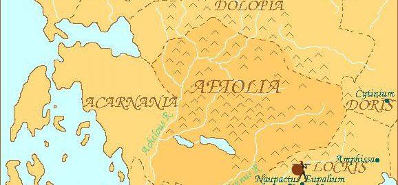 Mapa ukazująca Etolię.