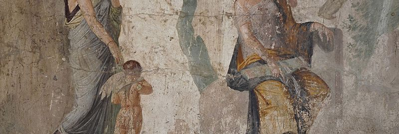 Roman fresco depicting punishment of Amor by Venus