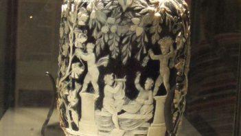 Roman dark blue vase with white reliefs