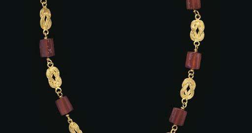 Cudowny rzymski naszyjnik ze złota i karneolu