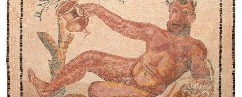 Roman mosaic with image of naked Hercules