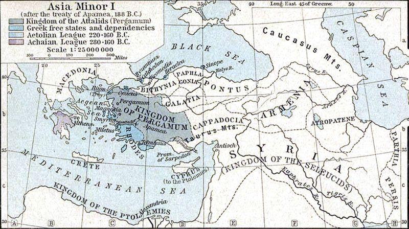 Mapa ukazująca Azję Mniejszą w roku 188 p.n.e.
