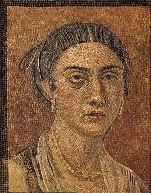 Portret rzymskiej kobiety na mozaice