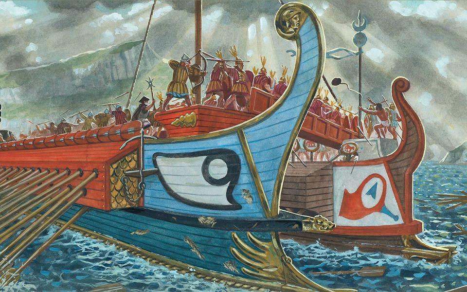 The clash of the Roman fleet | Photo: Giuseppe Rava from Osprey book: Republican Roman Warships
