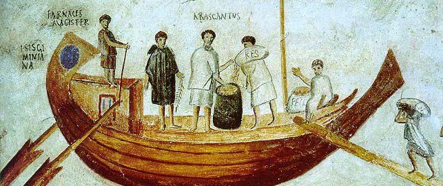 Mural z Ostii ukazujący dotowarowywanie statku